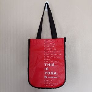 Lululemon red This is Yoga reusable foldable tote